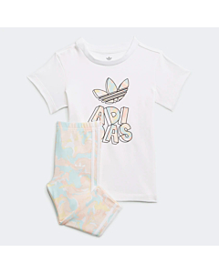 Adidas Marble Print Tee Dress and Tights Sæt / Marble