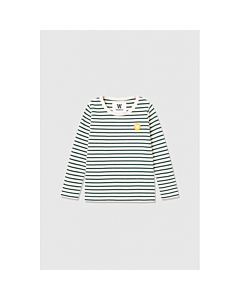 WOOD WOOD Kim bluse / Off white - faded green stripes