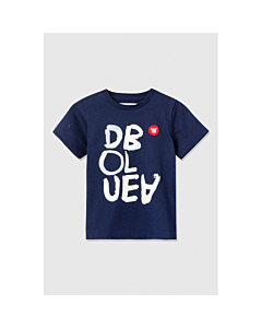WOOD WOOD Ola T-shirt white print / Navy