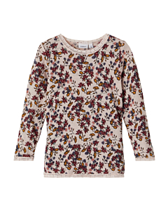 Name it WANG Merino uld Bluse m. blomster / Peach Whip AOP (aw21)