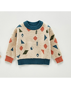 Angou sweater med print / offwhite