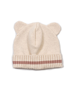 Huttelihut Minnie bear hue med øre / Off white - rosa