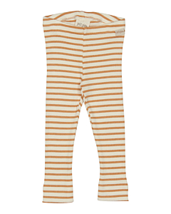 Petit Piao stribede rib Leggings / Clay-eggnog