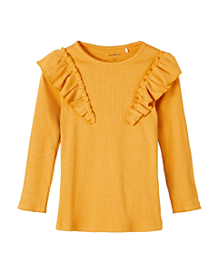 Name It Blanca bluse med flæse / Spruce yellow