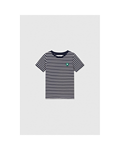 WOOD WOOD Ola t-shirt - økologisk / Navy - offwhite stripes